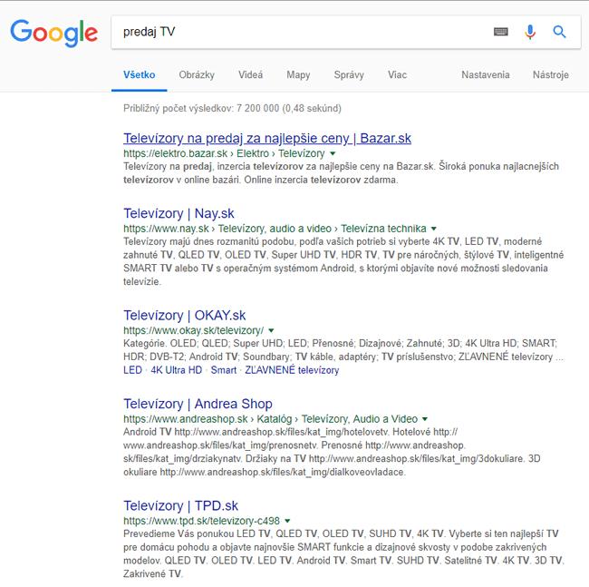 predaj TV Google