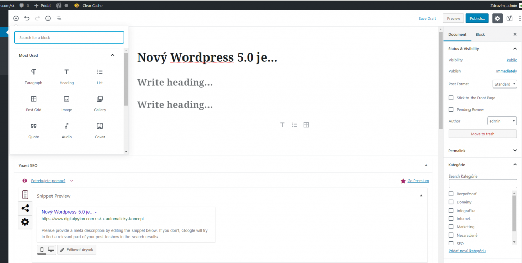Nový wordpress 5.0