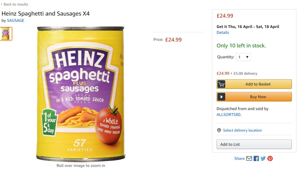 produktova stranka produktu heinz spaghetti sausages na webstranke amazonu