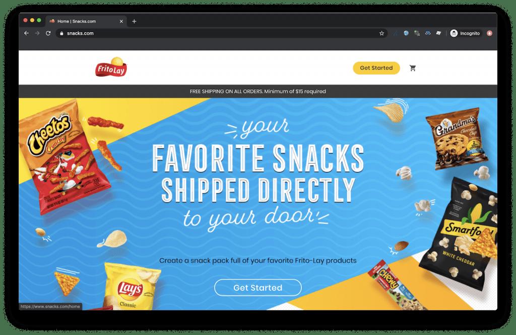 pohlad na homepage eshopu snacks.com